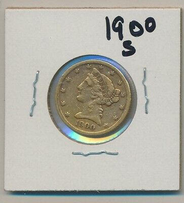 U.s. Gold - $5.00 Liberty - 1900-S - Genuine, Of Course !