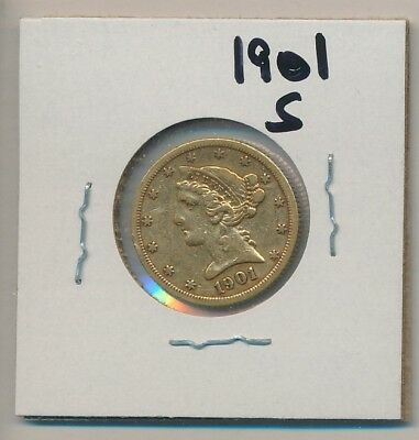 U.s. Gold - $5.00 Liberty - 1901-S - Genuine, Of Course !