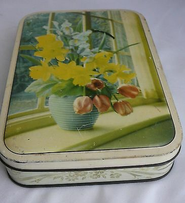 Vintage Walters Palm Toffee tin lollies sweets daffodils in vase advertising