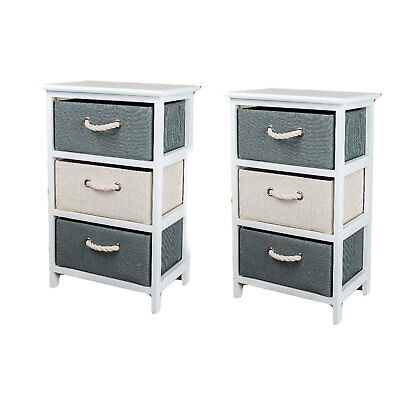2× Wooden Bedside Tables Cabinet With 3 Fabric Drawers Nightstands Bedroom Chic