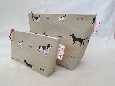 Handmade Oilcloth Set Of 2 Make Up Toiletry Bag - Sophie Allport Woof Dog Fabric