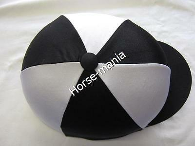 Black & White Riding Hat Silk Cover For Jockey Skull Caps One Size