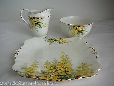 Royal Standard England Laburnum sandwich plate sugar bowl cream jug