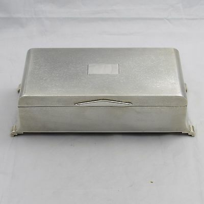 Fantastic Silver Art Deco Style Engine Turned Cigarette Case Joseph Gloster 1964