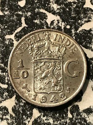 1942-S Netherlands East Indies 1/10 Gulden Lot#6894 Silver! High Grade!