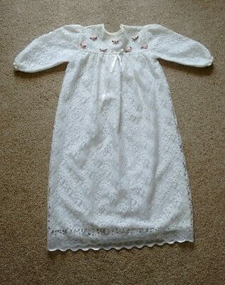 """True vintage nylon lace long christening gown : pink satin rosebuds 24"""" chest"""