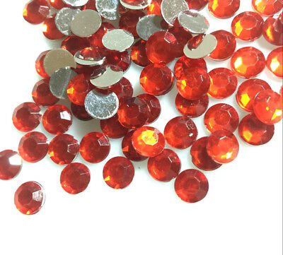 200pcs 8mm Red Acrylic Crystal Round Faceted Flat Back Rhinestones Beads DIY