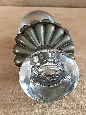 Restoration Hardware glass door knob crystal smooth round antiqued bronze dummy