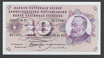 10 Franken From Switzerland 1973 Unc
