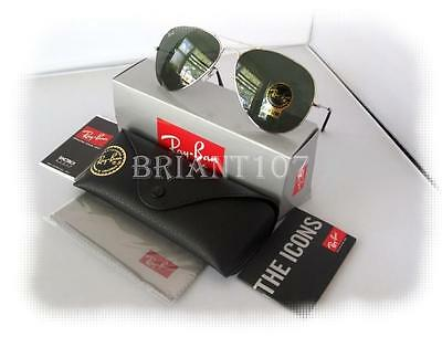 New Mens Sunglasses Ray-Ban RB3025 Aviator Silver/Green 58mm