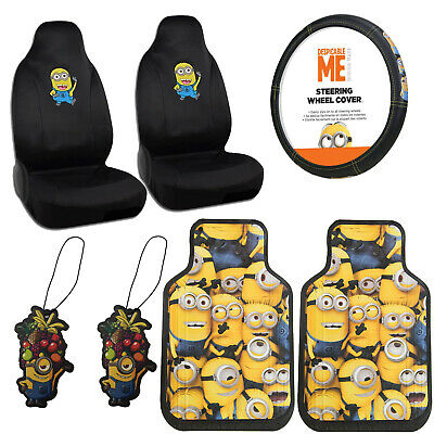 New Set Despicable Me Minion Minions Car Front Seat Covers Steering Wheel Cover