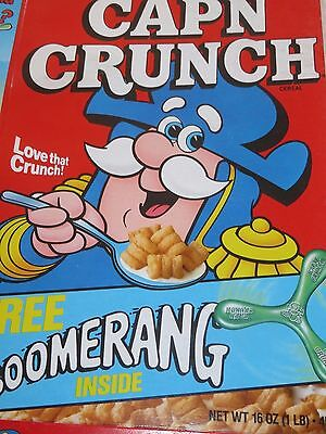 CAP'N CRUNCH 1989 VINTAGE CEREAL BOX Boomerang (not included)