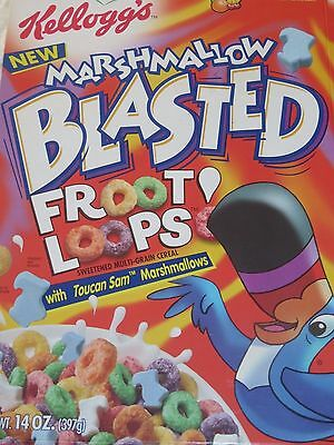 Kellogg's New MARSHMALLOW BLASTED FROOT LOOPS 1999 VINTAGE CEREAL BOX Bright