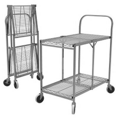 Two-Shelf Collapsible Wire Utility Cart LUXWSCC-2 Brand New!