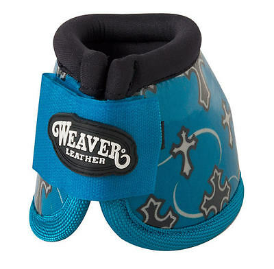 Weaver Leather Patterned No-Turn Bell Boots - Turquoise Cross - Medium