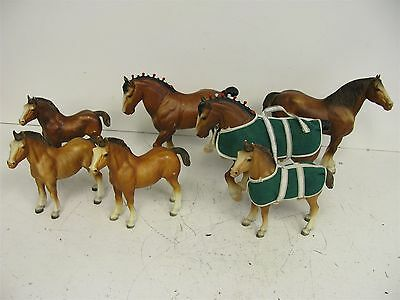 #1 Lot 7 Breyer Horse Clydesdale #80 Stallion, #84 Foal, #83 Mare, Collectible