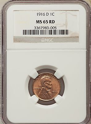 1916-D US Lincoln Wheat Cent 1C - NGC MS65 RD