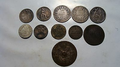Lot of 1800's World Coins inc silver