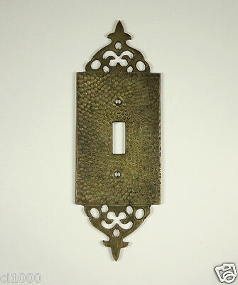 Vintage Ornate SOLID HAMMERED BRASS - Single Switch Plate Cover