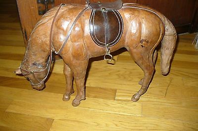 Vintage Leather Wrapped Equestrian Horse Model Figure Sculpture Statue