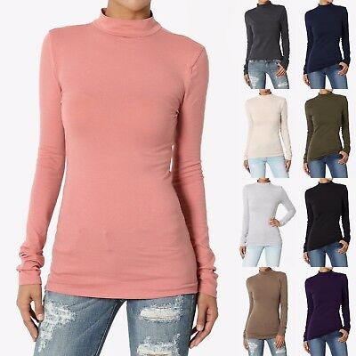 TheMogan Basic Solid Plain Mock Neck Long Sleeve Cotton Jersey Tee T-Shirt Top