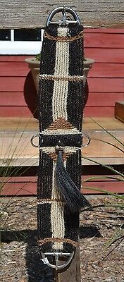 100% Mane Hair Vaquero Style Girth/Cinch with Shu-Fly - Black/Sorrel/White - 30""