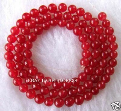 4mm Red Jade Round Gemstone Beads 15.5''