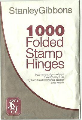 STANLEY GIBBONS 1000 FOLDED STAMP HINGES PEELABLE Acid Free GUM - BULK BUY of 5