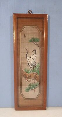 Vintage hand painted egrets on fine straw framed circa 1960s used