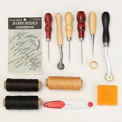 13pcs Leather Craft Set Kit Hand Stitching Sewing Thread Awl Waxed Thimble DIY