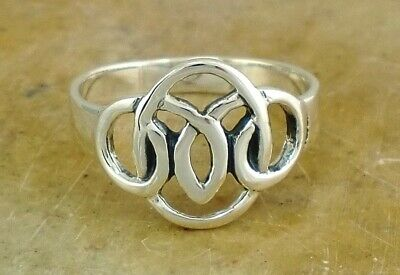 .925 STERLING SILVER TURQUOISE CELTIC TRINITY KNOT RING size 9  style# r1452