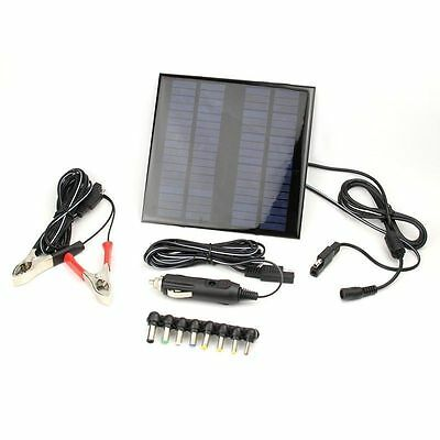 18V 2W Solar Panel Battery Charger Power Bank for Laptop Car Truck Boat US