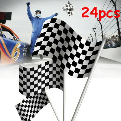 24Pc Black & White Chequered F1 Formula One Racing Banners Hand Waving Flag Gift