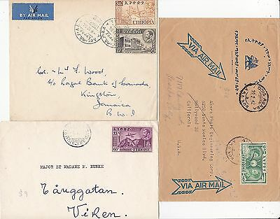 * 1952/4 3 x ETHIOPIA COVERS TO USA JAMAICA & SWEDEN COMMERCIAL AIRMAILS