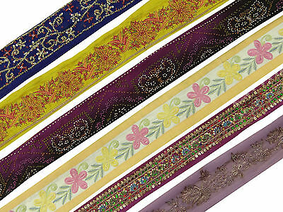 Vintage Indian Antique Ribbon Used Multicolor Sewing Craft Lot Of 6 Pcs Trim