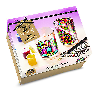 House Of Crafts Glass Painting Starter Craft Kit Paint 2 Candle Votives SC050