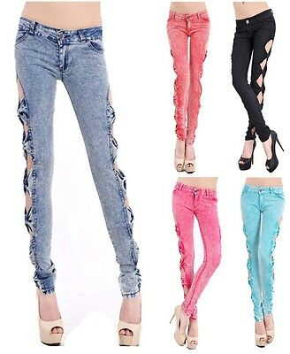 Sexy Womens Vintage Cutout Ripped Denim Jeans Side Bow Trousers Leggings Pants