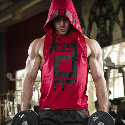 Fashion Men's Casual Hoodies Gym Muscle Fitness Workouts Hooded Vest Singlets