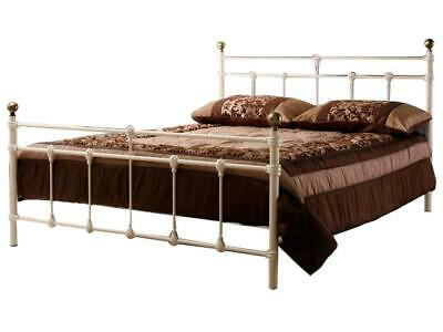 Birlea Atlas Bed - 4ft Metal Small Double Bed - Cream with Brass Finials