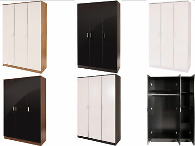 Caspian Supreme High Gloss 3 Door Wardrobes with Shelves  Black Oak Walnut White