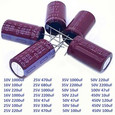 10V-450V High Frequency LOW ESR Radial Electrolytic Capacitors 10uF-2200uF NCC