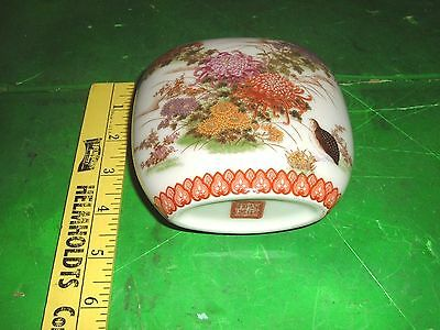 vtg antique Chinese small oval Porcelain Vase floral Oriental maybe 19thc
