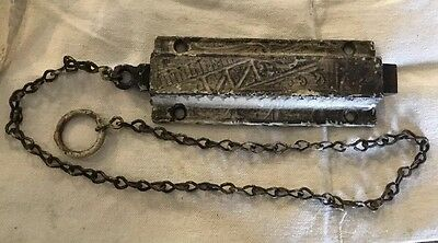 Vintage Cast Iron Door Latch Hardware Ornate Pull Chain Antique Victorian 5.25""