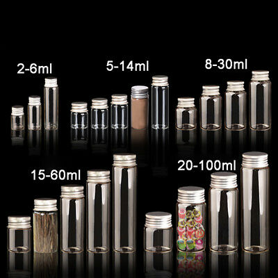 2mL to 100mL Empty Clear Glass Bottles Seal Crafts Vials Jars With Aluminium Cap