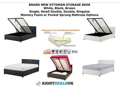 OTTOMAN STORAGE BED GAS LIFT UP - 3ft 4ft 4ft6 5ft - MATTRESS CHOICE - 3 COLOURS