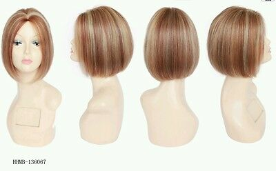 Mono top Indian Remy human hair wig,10 inches,color 27/33/613