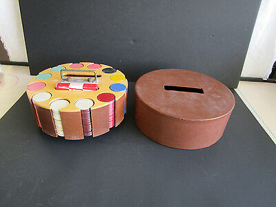 Vintage Wooden Poker Chip Caddy With 300 Colorful Chips