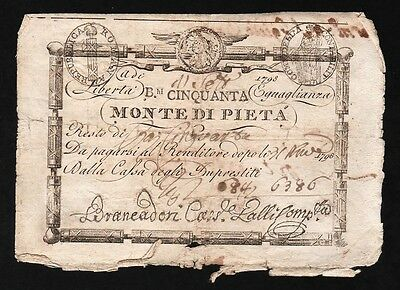50 Banknotes From Italy 1798 M