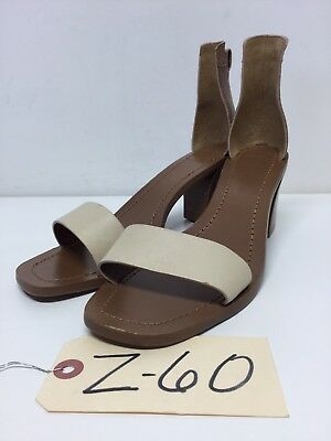 Z60 NEW Tory Burch Ivory / Brown Leather Ankle strap Block Heel Sandals Size 8 M