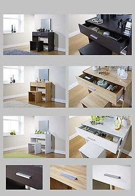 Julia Vanity Dressing Table With Stool & Mirror - Espresso, Oak, White or Grey